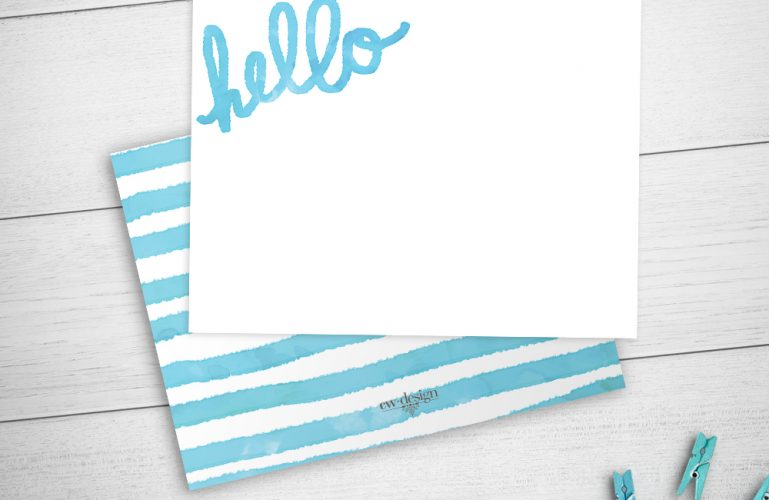 Hello Watercolor Stripes